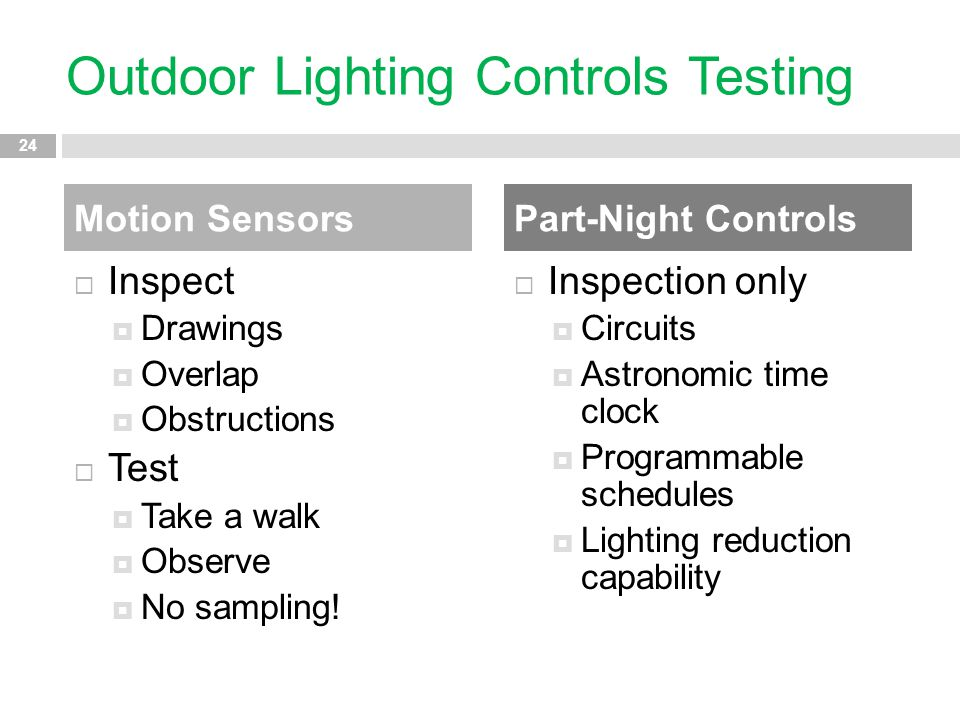 Outdoor Lighting Controls Testing