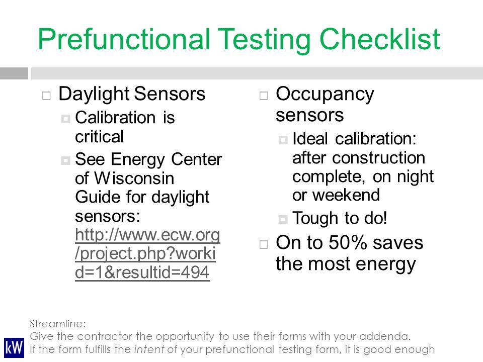 Prefunctional Testing Checklist