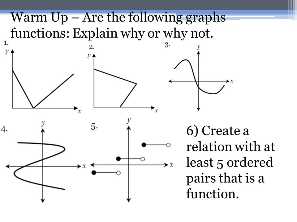 Warm Up – Are the following graphs functions: Explain why or why not