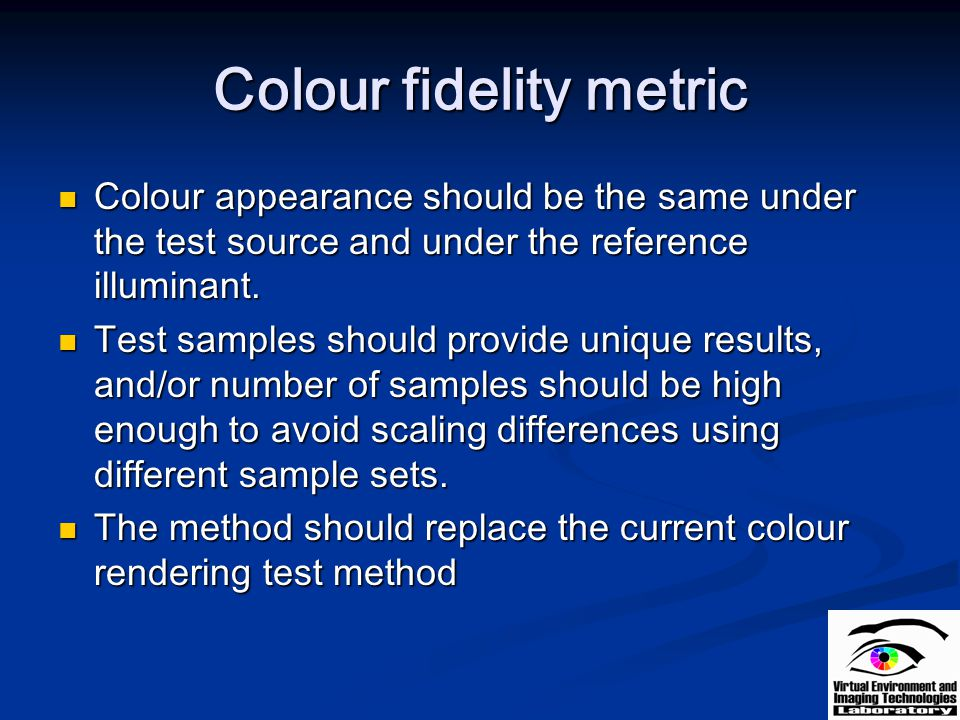 Colour fidelity metric