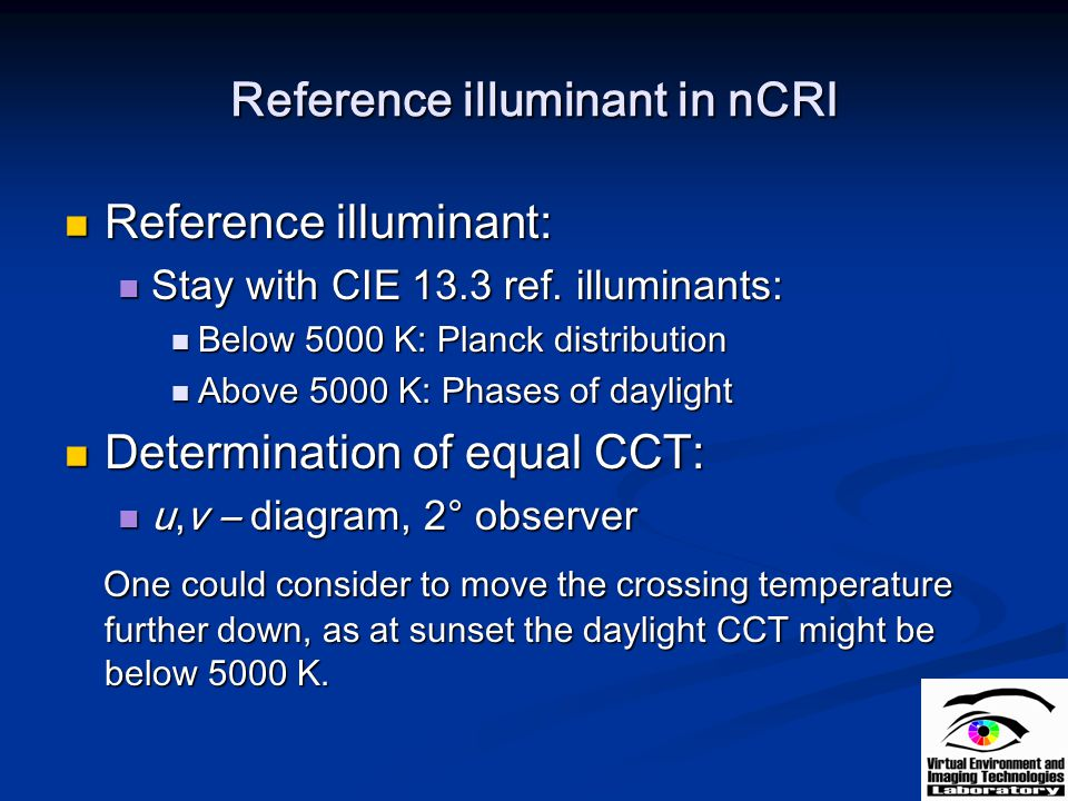 Reference illuminant in nCRI