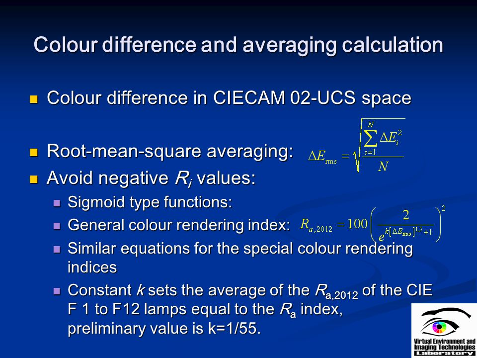 Colour difference and averaging calculation
