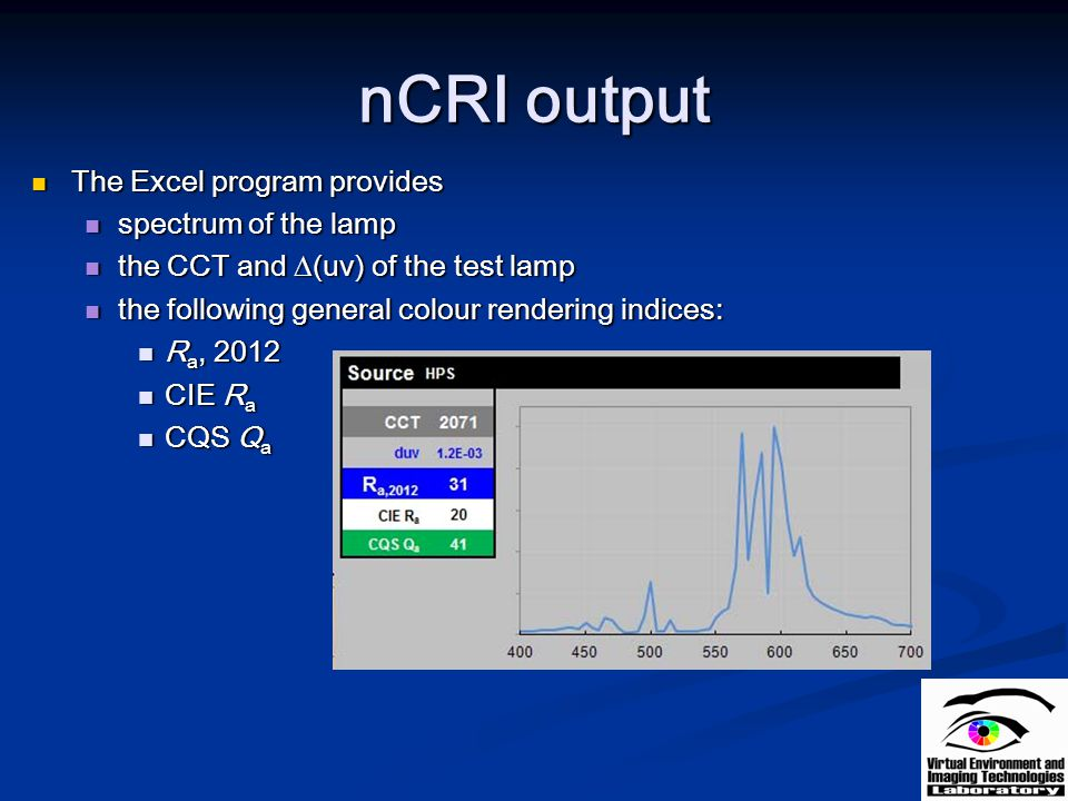 nCRI output The Excel program provides spectrum of the lamp