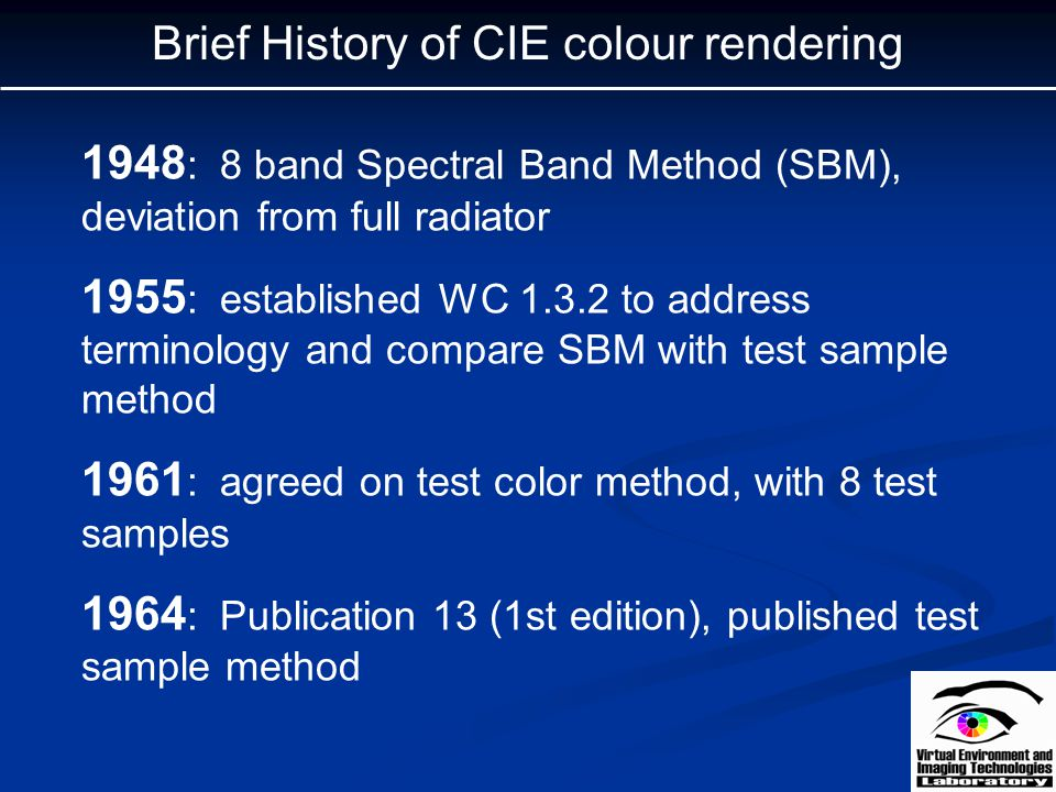 Brief History of CIE colour rendering