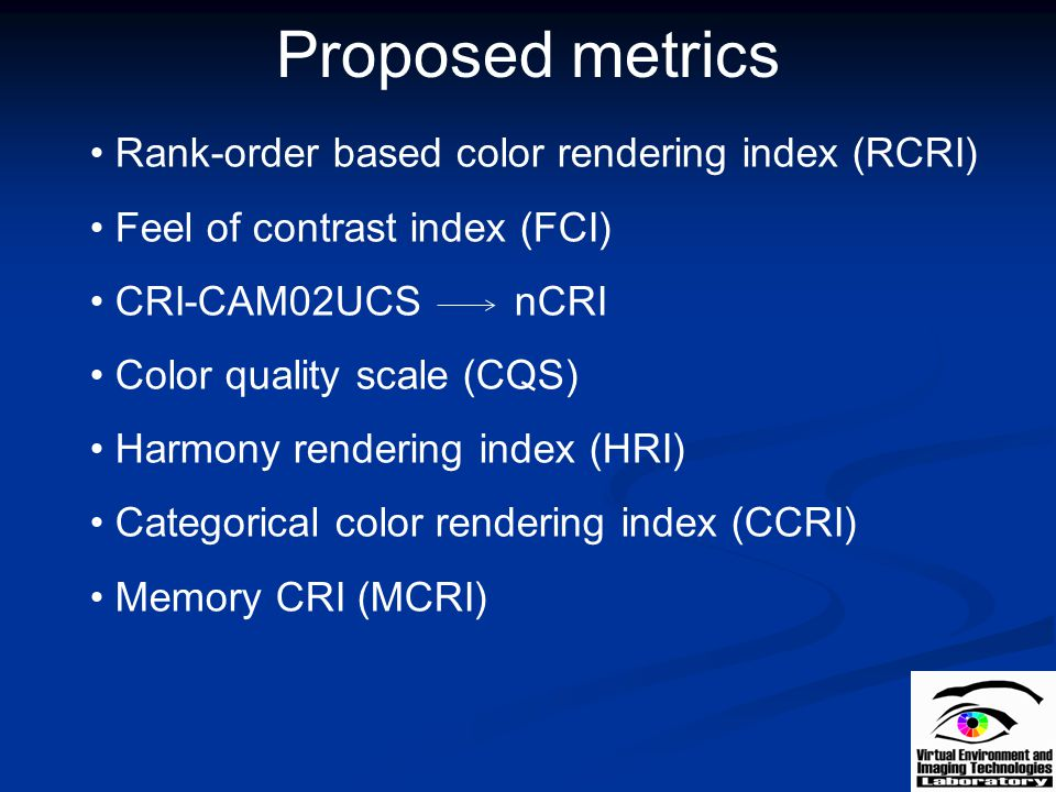 Proposed metrics Rank-order based color rendering index (RCRI)