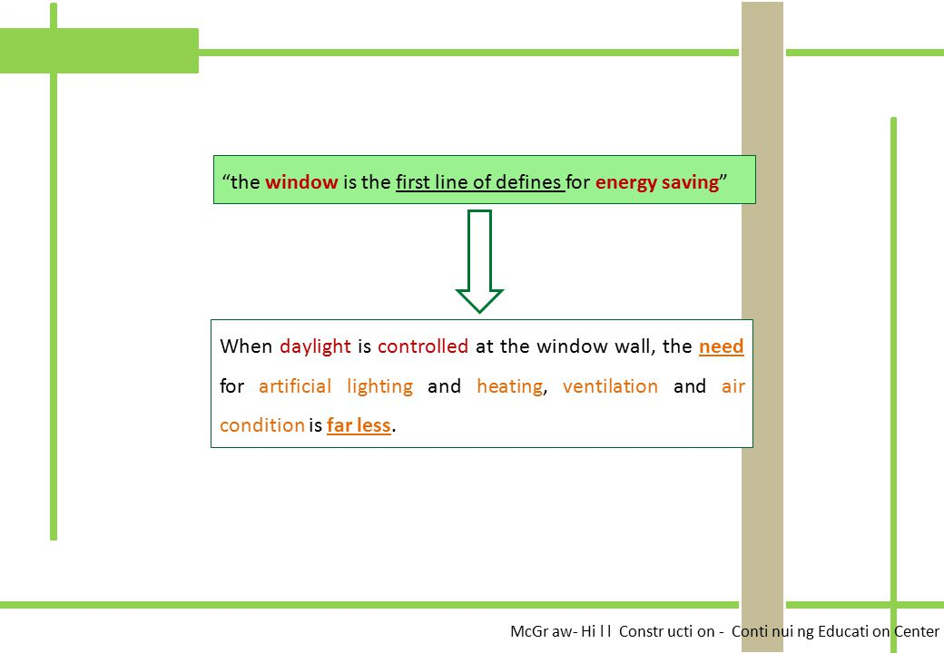 the window is the first line of defines for energy saving