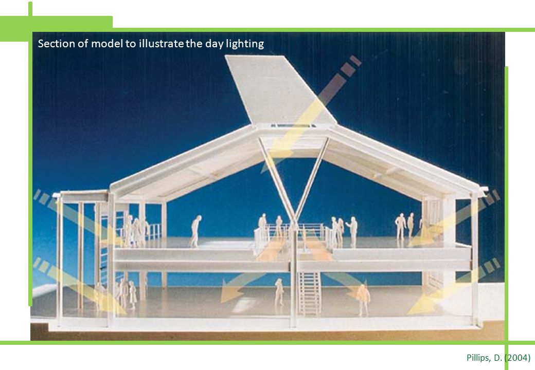 Section of model to illustrate the day lighting