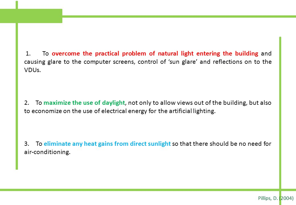 1. To overcome the practical problem of natural light entering the building and causing glare to the computer screens, control of 'sun glare' and reflections on to the VDUs.