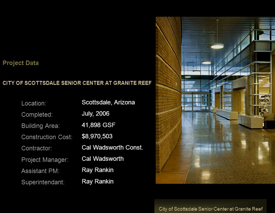 Granite Data Center : City of scottsdale senior center at granite reef ppt