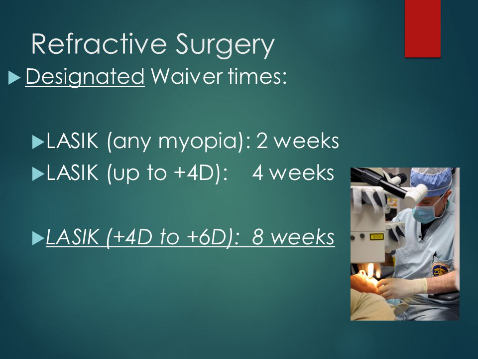 Refractive Surgery Designated Waiver times: