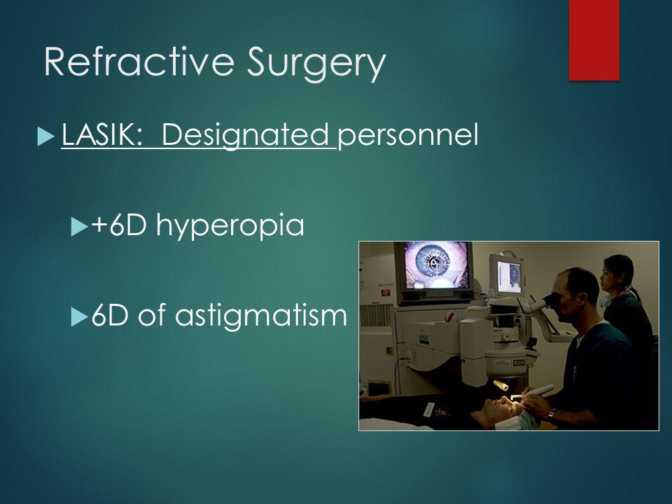 Refractive Surgery LASIK: Designated personnel +6D hyperopia