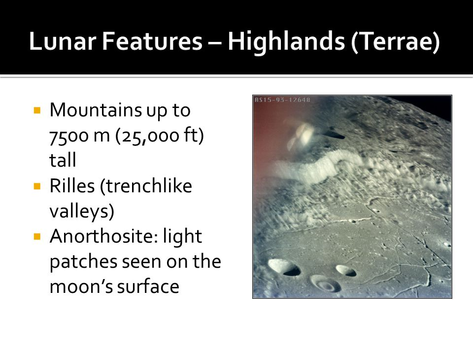 Lunar Features – Highlands (Terrae)
