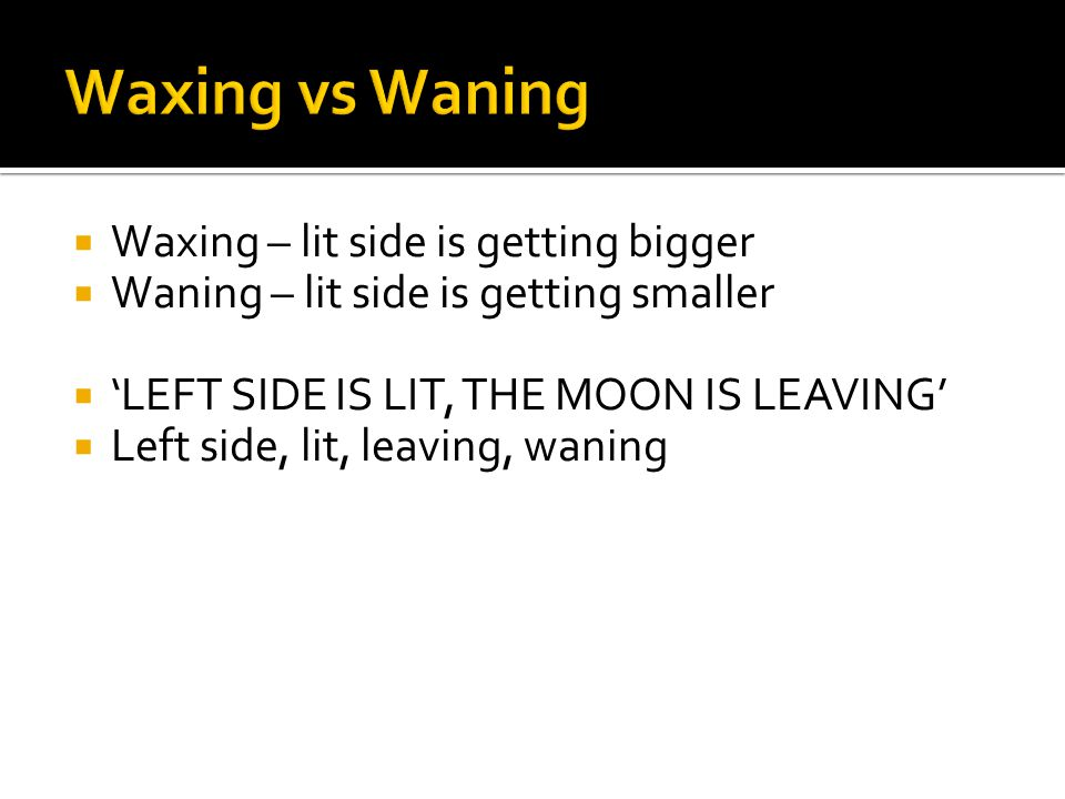 Waxing vs Waning Waxing – lit side is getting bigger
