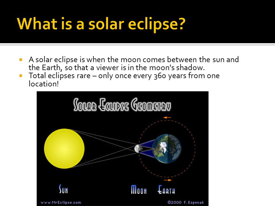 What is a solar eclipse A solar eclipse is when the moon comes between the sun and the Earth, so that a viewer is in the moon s shadow.