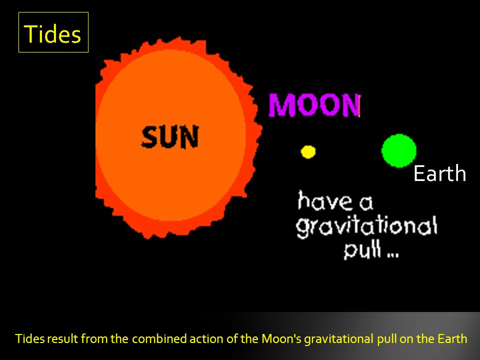 Tides Earth Tides result from the combined action of the Moon s gravitational pull on the Earth