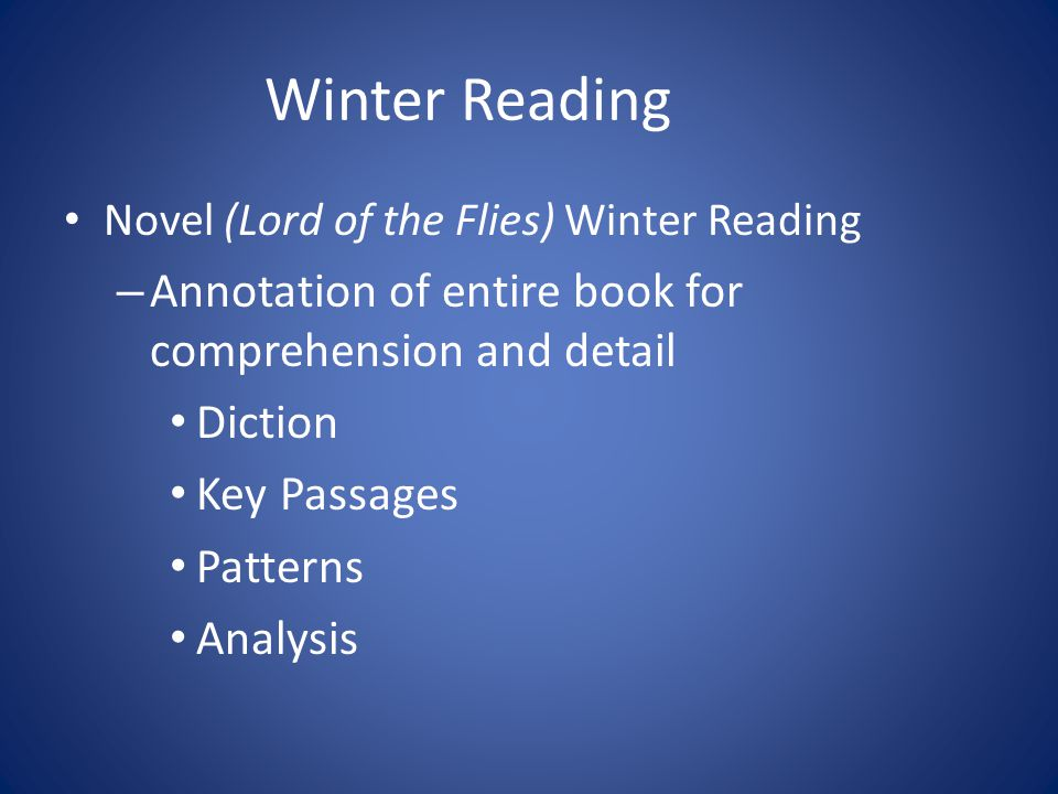 Winter Reading Annotation of entire book for comprehension and detail