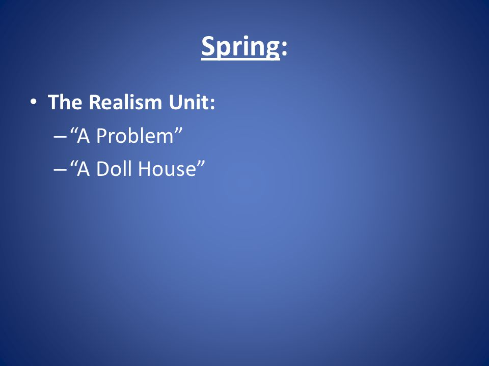 Spring: The Realism Unit: A Problem A Doll House
