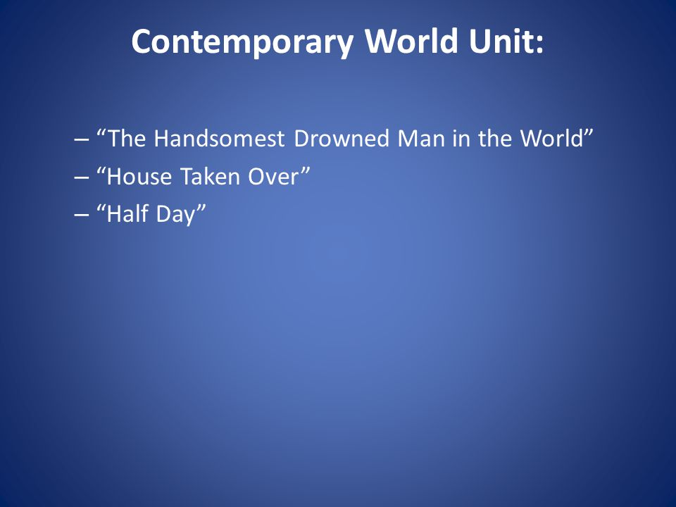 Contemporary World Unit: