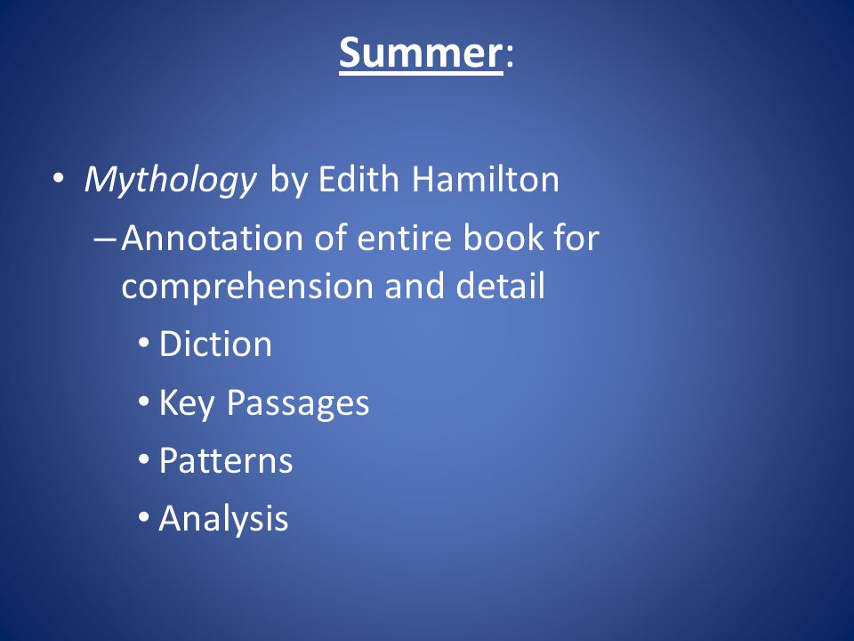 Summer: Mythology by Edith Hamilton