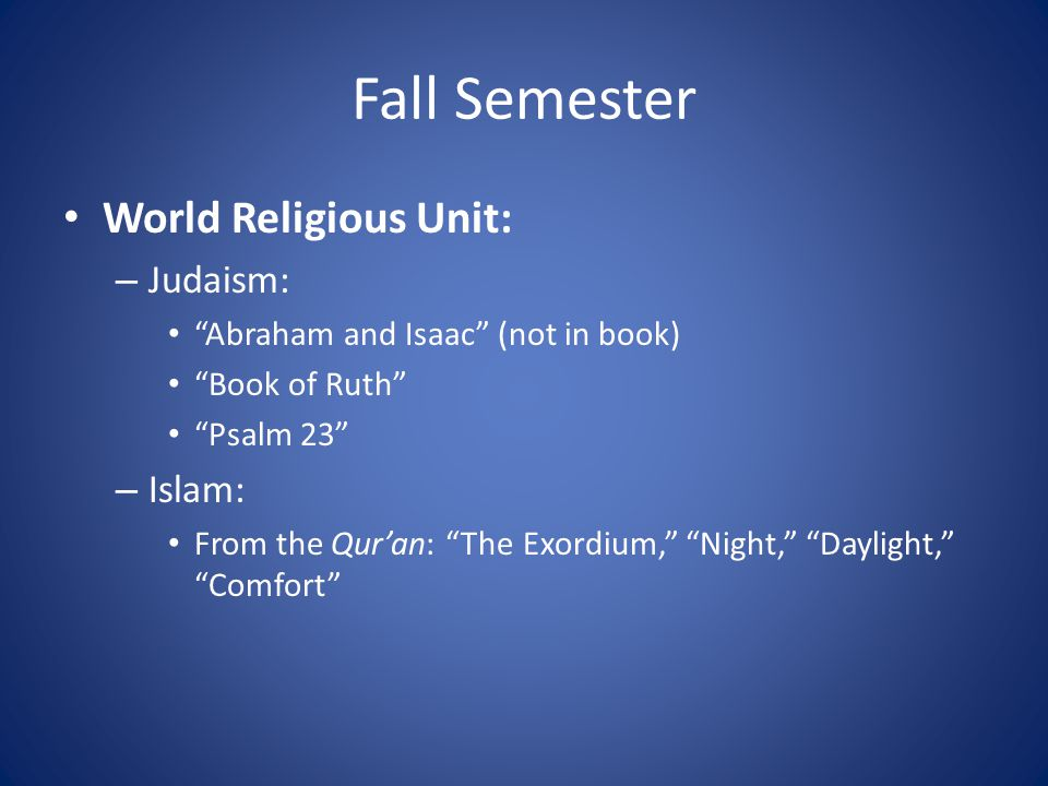 Fall Semester World Religious Unit: Judaism: Islam: