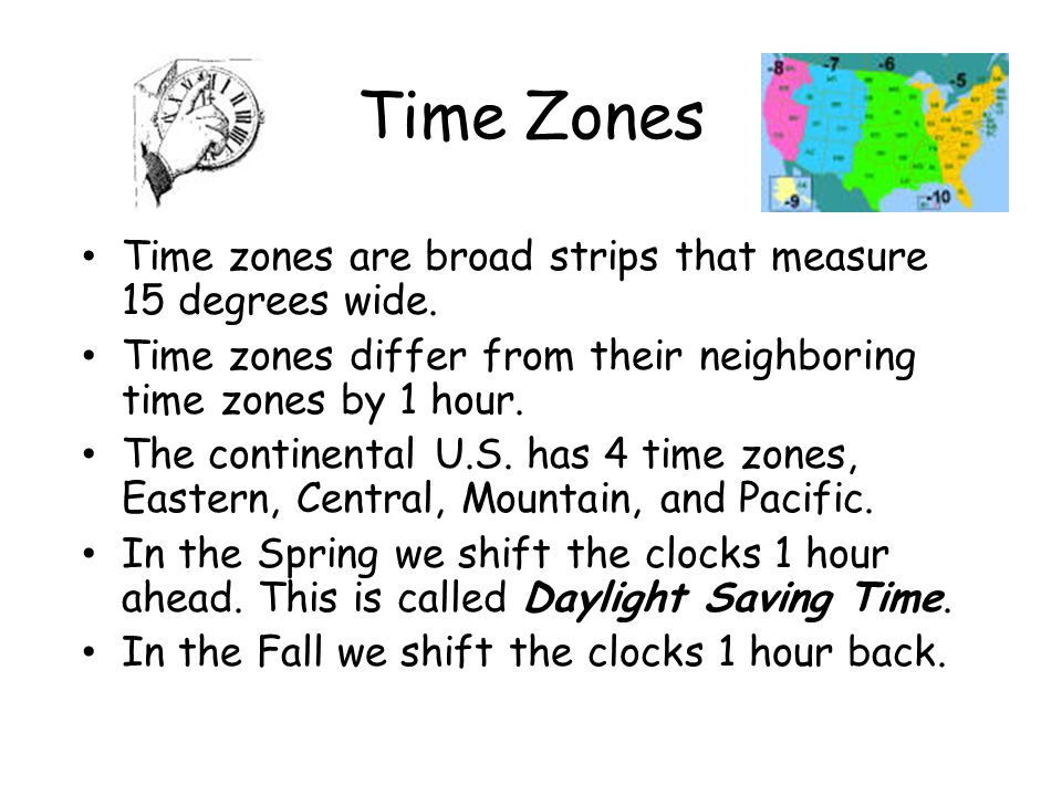 Time Zones Time zones are broad strips that measure 15 degrees wide.