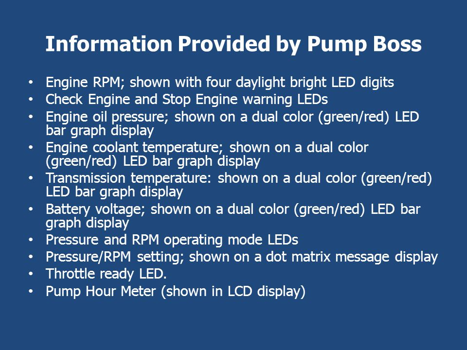 Information Provided by Pump Boss