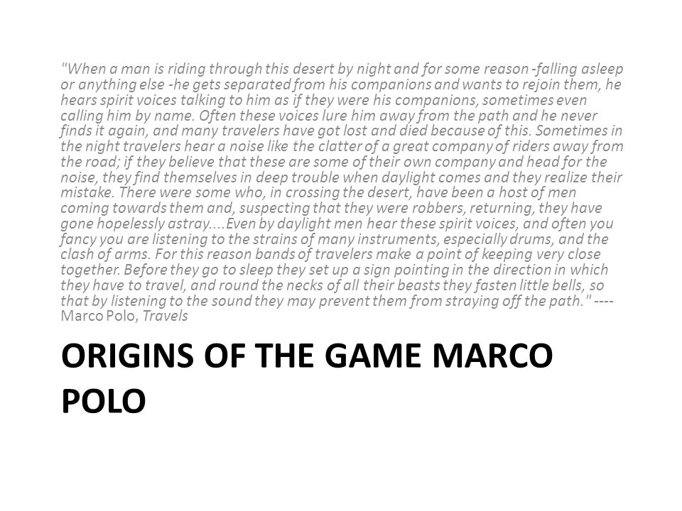 Origins of the game Marco Polo