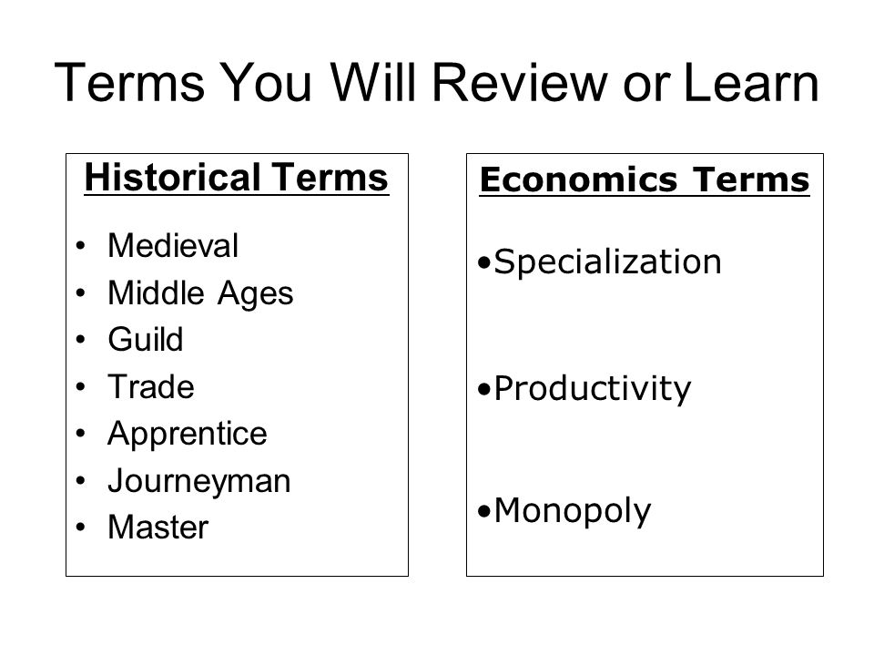 Terms You Will Review or Learn