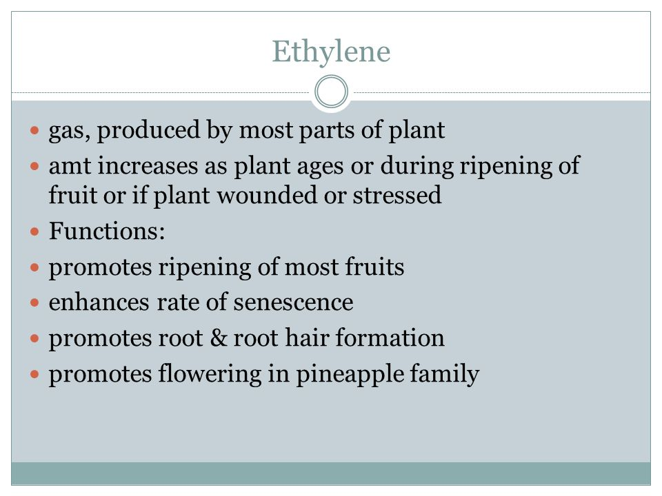 Ethylene gas, produced by most parts of plant