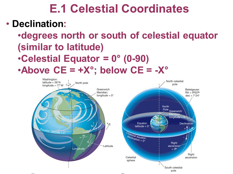 E.1 Celestial Coordinates