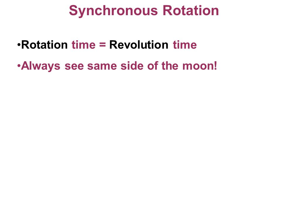 Synchronous Rotation Rotation time = Revolution time