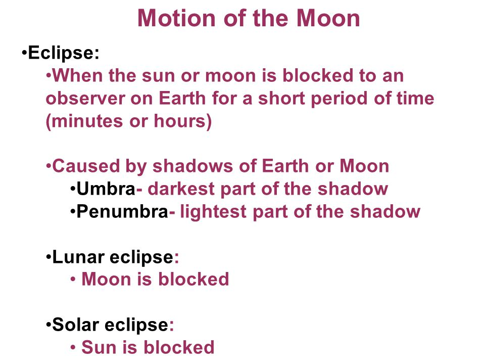 Motion of the Moon Eclipse:
