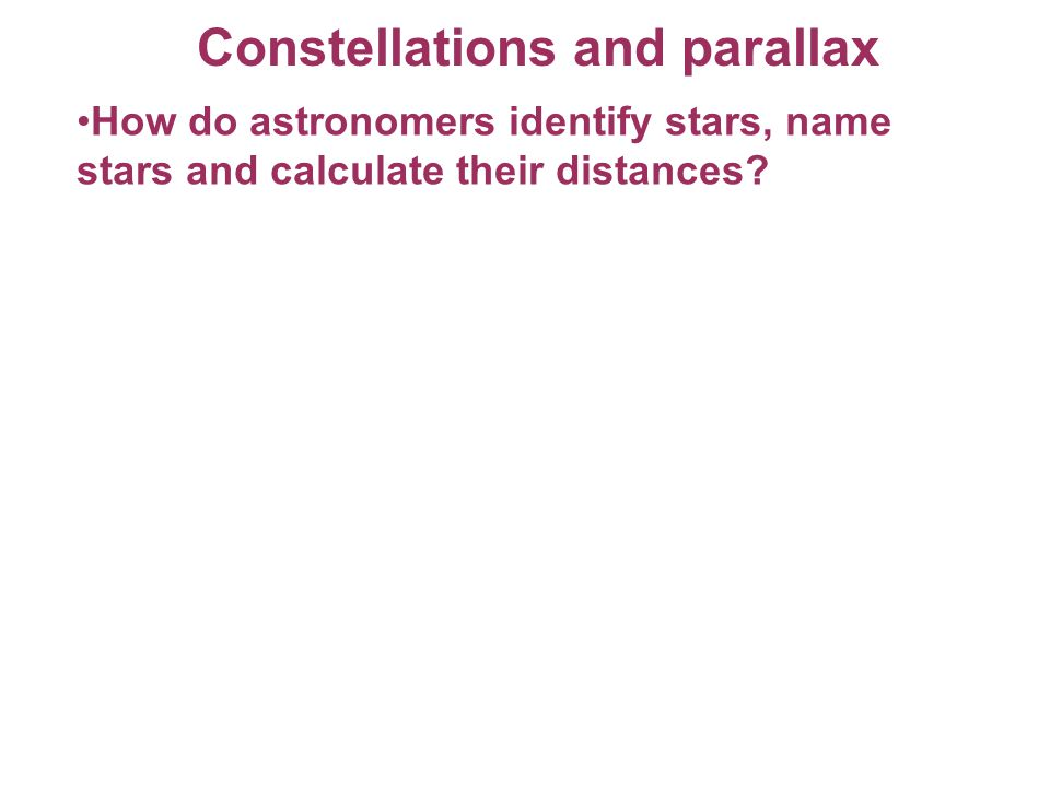 Constellations and parallax