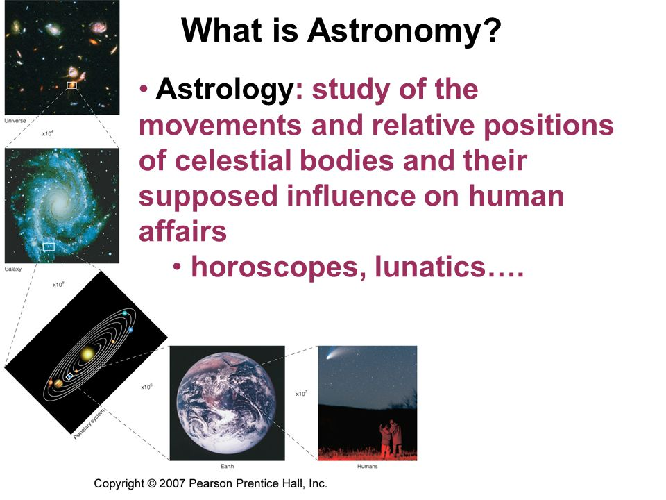 What is Astronomy Astrology: study of the movements and relative positions of celestial bodies and their supposed influence on human affairs.