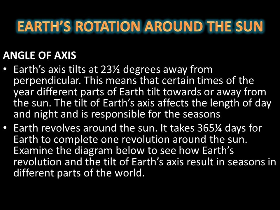 EARTH'S ROTATION AROUND THE SUN