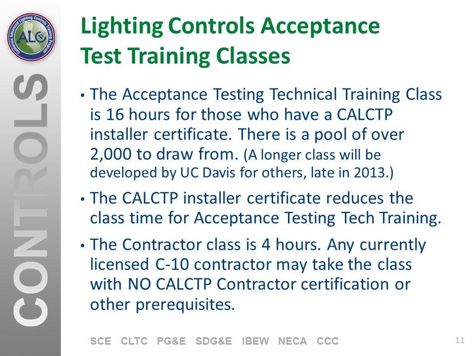 Lighting Controls Acceptance Test Training Classes