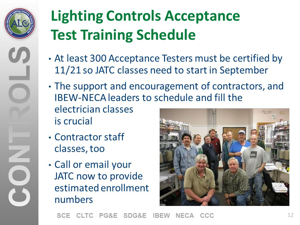 Lighting Controls Acceptance Test Training Schedule