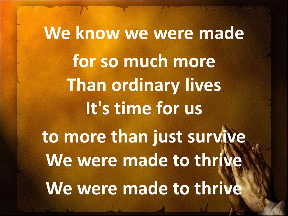 We know we were made for so much more Than ordinary lives It s time for us to more than just survive We were made to thrive We were made to thrive
