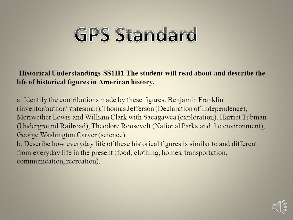 GPS Standard Historical Understandings SS1H1 The student will read about and describe the life of historical figures in American history.