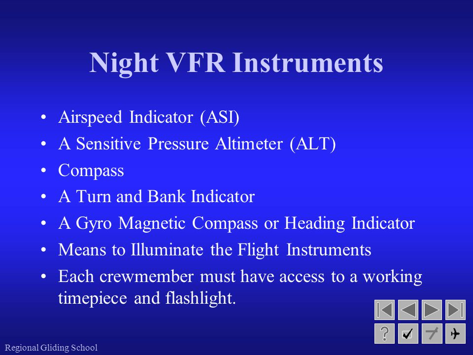 Night VFR Instruments Airspeed Indicator (ASI)