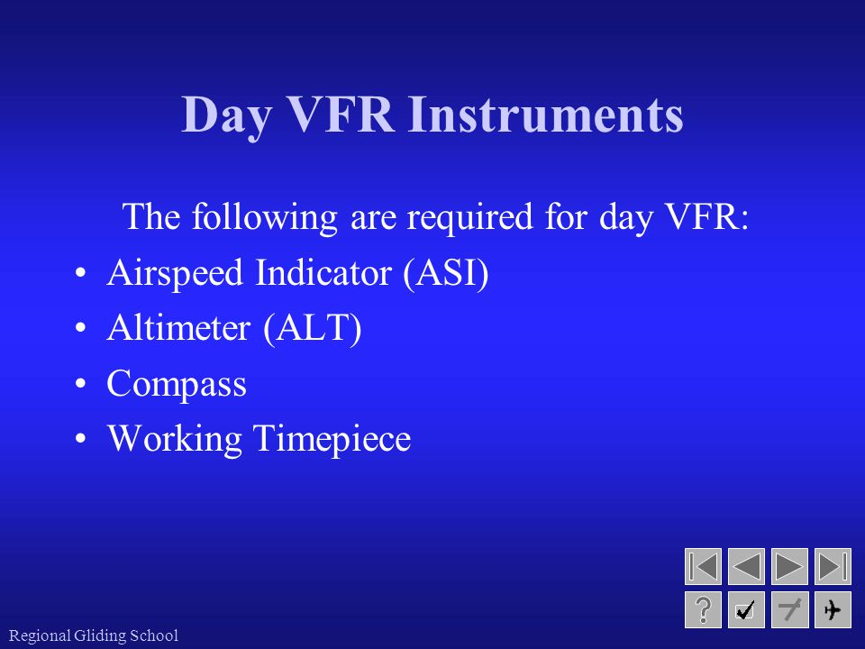 Day VFR Instruments The following are required for day VFR: