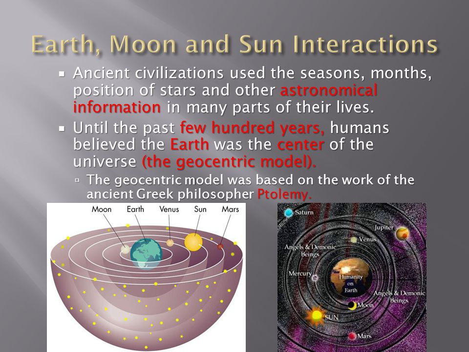 Earth, Moon and Sun Interactions