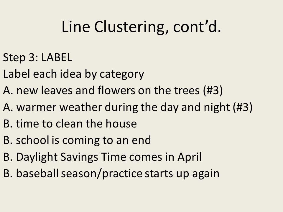 Line Clustering, cont'd.