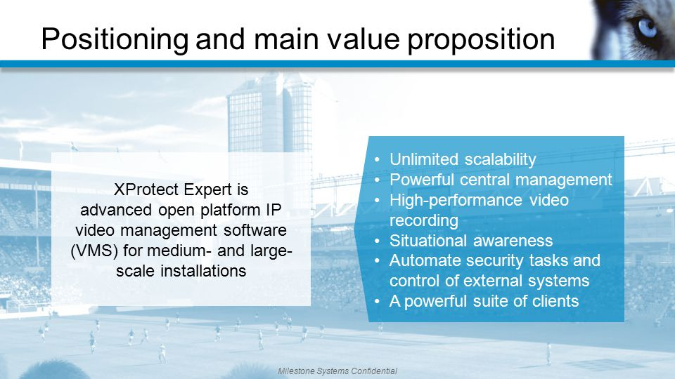 Positioning and main value proposition