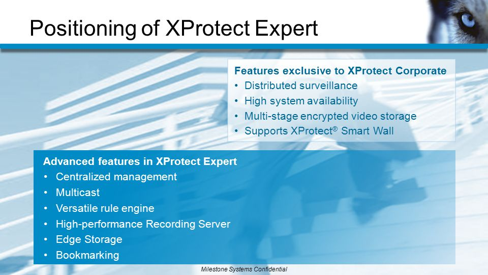 Positioning of XProtect Expert