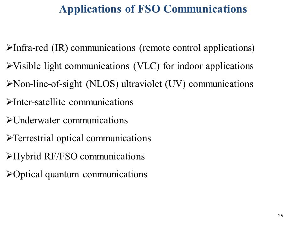 Applications of FSO Communications