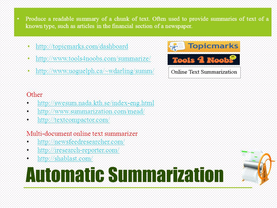 Automatic Summarization