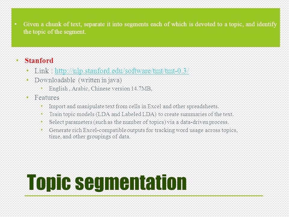 Topic segmentation Stanford