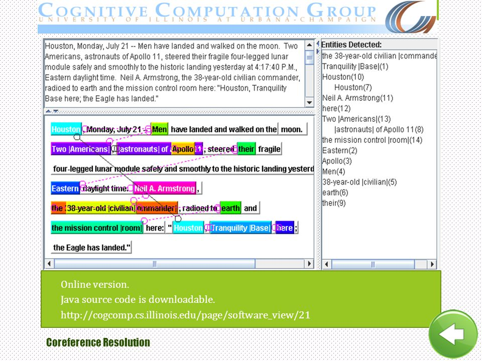 Online version. Java source code is downloadable. http://cogcomp.cs.illinois.edu/page/software_view/21.
