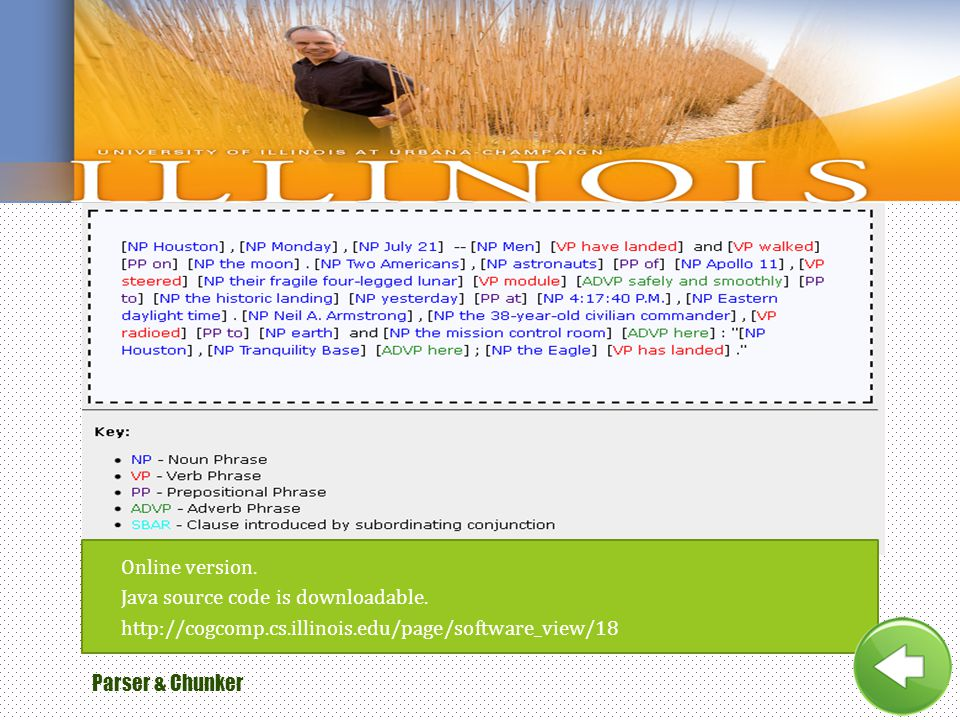 Online version. Java source code is downloadable. http://cogcomp.cs.illinois.edu/page/software_view/18.